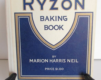 Ryzon Baking Book 1918 Vintage Hardback Baking Recipes Kitchen Decor Photo Prop