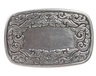 Western Flower Engraving Oval Silver Belt Buckle( 643279)