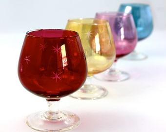 4 Vintage Mid-Century Jewel tone Cordial glasses