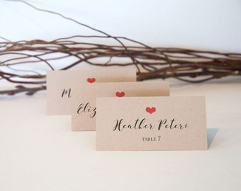 Rustic Wedding Place Cards - Simple Calligraphy - Kraft