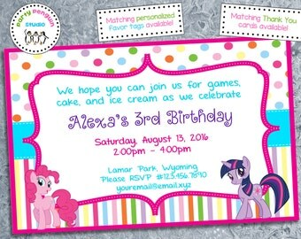 My Little Pony Custom Party Invitation