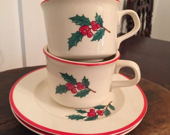 "Vintage Taylor Smith & Taylor Christmas ""Holly Spruce"" Pattern Cup and Saucer Set Including 3 Cups 2 Saucers"