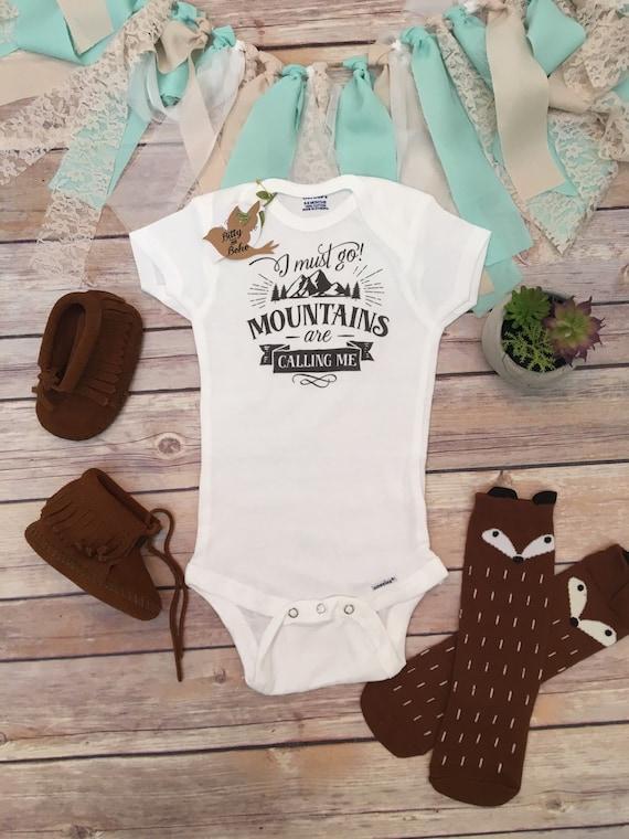 Mountains esie Baby Boy Clothes Baby Shower by BittyandBoho