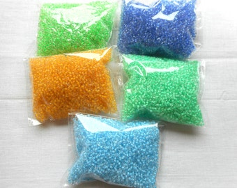 Neon Seed beads | Color-lined seed beads | green seed beads | transparent glass seed beads | blue | mint seed beads | Color-lined