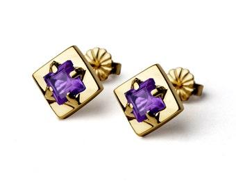 SQUARE Earrings, Gold Amethyst Earrings, Unique Amethyst Stud Earrings, Small Amethyst Posts, Geometric Earrings