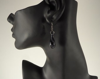 Handmade Lampworked Black and Silver Drop Glass Earrings