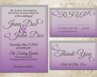 Digital Customized Purple and Grey Wedding Invitation Set
