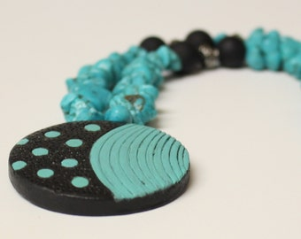 """Turquoise Howlite Necklace / Aqua Blue Howlite Chip Bead ,Terracotta Clay Pendant,Matte Black Plastic and Metal silver Beads,18"""",Gemstone"""