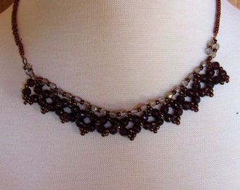 Red Garnet and Crystal Necklace and Earrings