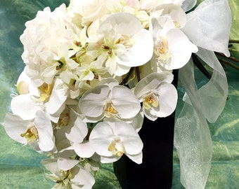 Waterfall White Orchid, Roses and Hydrangea Cascading Silk Bouquet