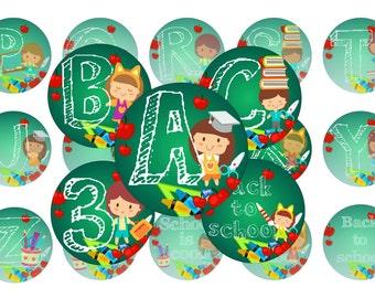 Alphabet Back To School Bottle Cap Images, Alphabet Abc Bottle Cap Images Alphabet School 1 INCH Round School ABC image Alphabet ABC bottle