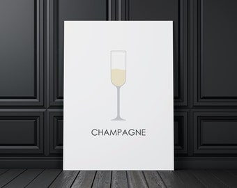 Wine Champange, digital print, wine art, wine print, wine wall art, wine prints, wine poster,  wine decor, wine design, compassionprints