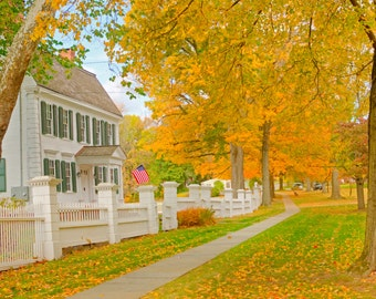 Autumn in old New England  autumn fall foilage White colonial Museum Quality Fine Art Paper or Kodak Endura Lustre