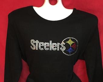 Pittsburgh Steelers Rhinestone crystal womens Classic Logo . SHORT LONG Sleeve Misses S, M, L, XL, Plus size 1x, 2X, 3X shirts