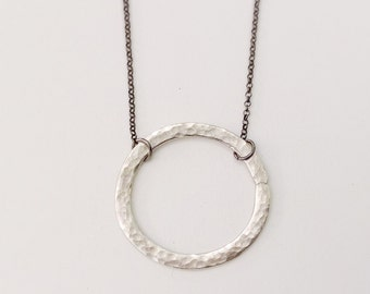 Circle Necklace / Geometrical Necklace / Sterling Silver 925 Necklace / Gift for Her