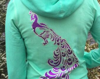 Metallic Purple and Crystal on a Mint Sweatshirt