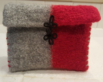 Square red & gray felted wool pouch