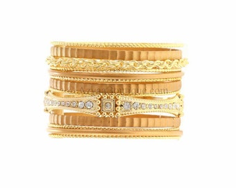 13-pc. Textured Gold Bangle Set