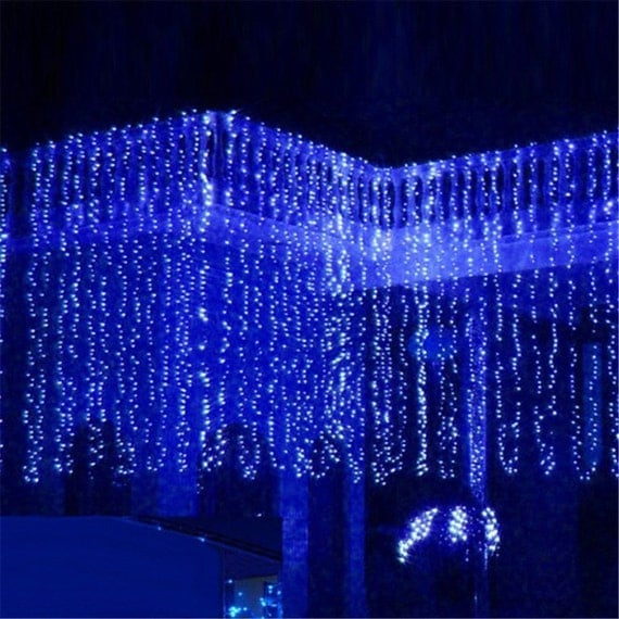 300 led 9 ft x 9 ft window curtain lights string fairy light. Black Bedroom Furniture Sets. Home Design Ideas