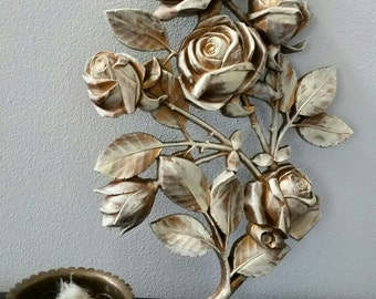 Vintage Syroco Wall Hanging Roses Shabby Chic,Romantic Cottage Upcycled