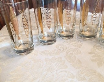 Vintage Fred Press Gilded Fish Design High Ball Glasses