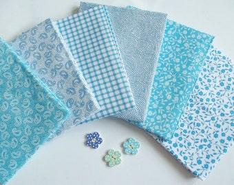 Turquoise Fat Quarter Bundle of 6 Cotton Fabric Pieces