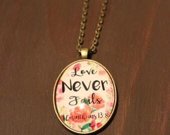 Large Oval Pendant - Bible Verse Pendant - Pendant Necklace - Love Never Fails - 1 Corinthians 13:8