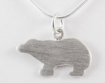 Whistler bear pendant - sterling silver