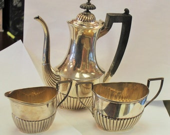 Deco Sterling Silver Tea Set with wooden handle - 1930