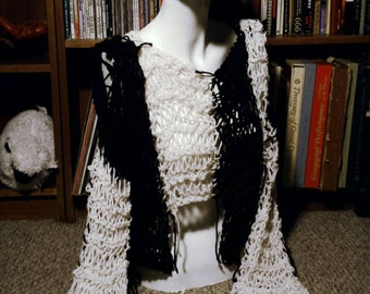 SALE Made To Order Hand Knit Black And White Cropped Sweater