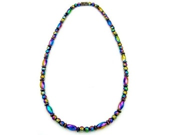 Iridescent Hematite Magnetic Necklace, Magnetic Therapy Necklace for Women, Rainbow Hematite Necklace # MHN-120