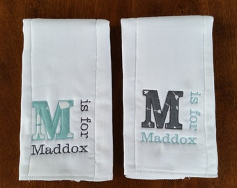 Personalized Diaper Burp Cloths Set of 2 - Classic Letter
