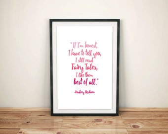 "Audrey Hepburn Quote Print, ""If I'm honest.."" Instant Digital Download Printable, Artwork"