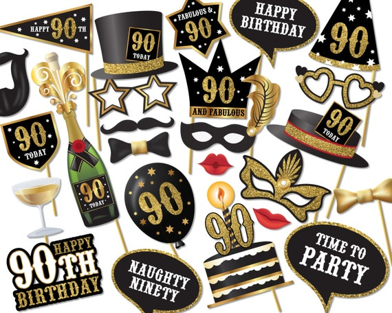 90th Birthday Photo Booth Props Instant Download Printable