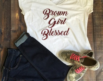 BROWN GIRL BLESSED script tee