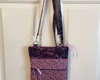 Dark Purple Crossbody Bag. Purple Sling Travel Tote. Double Zipper Messenger Bag