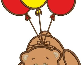 Bear with beads, applique, embroidery machine design, instant download