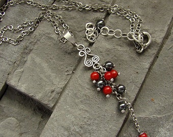 Sterling silver, coral and hematite - necklace