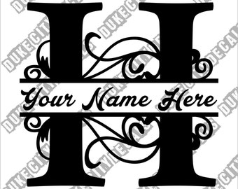 Letter H Floral Initial Monogram Family Name Vinyl Decal Sticker - Personalized Floral Name Decal
