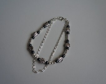 Silver plated beads bracelet, antic silver, hematite beads, silver plated chain