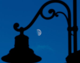 Old Moon-instant download-the Moon rises behind the silhouette of an old mountain Streetlight
