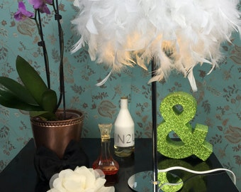 Feather lamps chrome white table light girly romantic glow