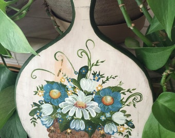 Hand Painted Wood Cutting Board, Vintage Cutting Board Art