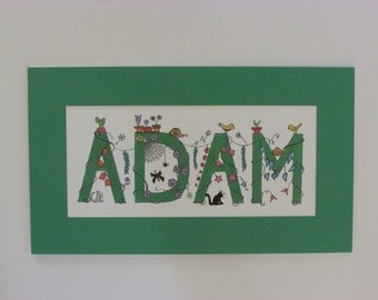 "Whimsical ""I Spy"" kid's names. Green ""Adam."" 16.5""x9.5"""