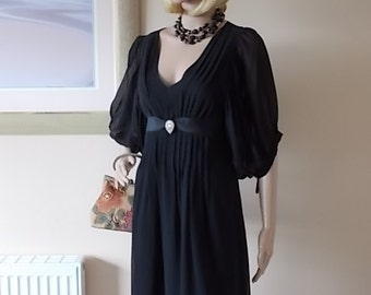 Petite Black Georgette Evening Dress Size UK 6, Ladies Clothing Puffed Sleeved Dress, Diamante Heart Detail Dress, Vintage 1970s Paris Dress