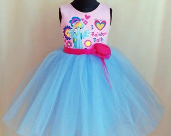 My Little Pony Dress, My Little Pony Birthday Dress, Rainbow Dash Dress, Little Pony Tutu Dress, Rainbow Dash Tulle Dress