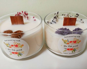 Dried flower soy candles