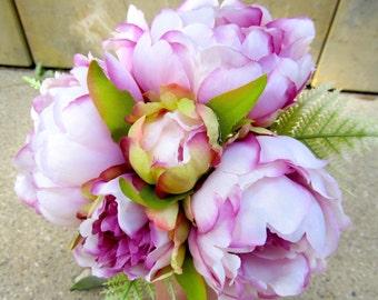Silk Bridal Bouquet, Violet Peony Wedding Bouquet, Purple Peonies Bridal Bouquet, Rustic Peony Wedding Bouquet, Plum Silk Flower Bouquet