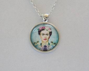 FRIDA KAHLO silver glass cabochon pendant, Cute Necklace, Girly pendant, Girl power , feminist, flowers mauve, pink