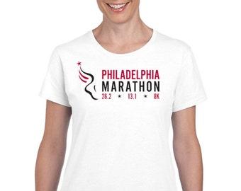 Philadelphia Marathon runner ladies t-shirt